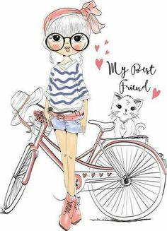 Cute Vectores en stock y Arte vectorial Illustration Mignonne, Illustration Mode, Illustrations, Cartoon Mignon, Cute Girls, Little Girls, Art Mignon, Buch Design, Cute Cartoon Girl