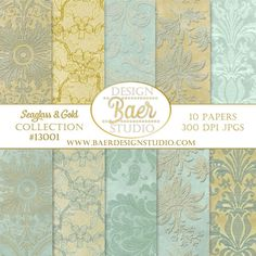 Lace Digital Paper, Seaglass Blue and Gold Digital Paper, Digital Paper Vintage, Robin Egg Blue Digital Paper, Arabesque Digital Paper 13001