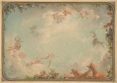 Design for a ceiling painted with putti in clouds with roses