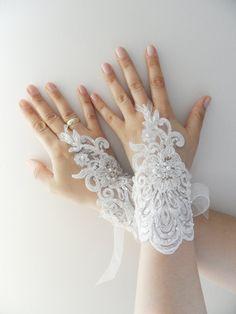 Wedding Gloves ivory lace gloves Fingerless by WEDDINGHome on Etsy, $39.00