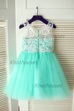 Turquoise Aqua Blue Tulle Ivory Lace Flower Girl by knothouses