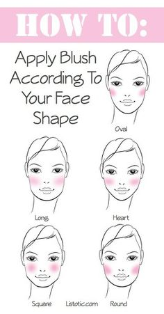 Apply blush according to your face shape. In order to apply blush where it will be most flattering on you, first determine your face shape. Blush not only adds color, but also contours and defines your cheek bones. The way you apply your blush can accentuate your best features and also soften those that are perhaps too prominent.