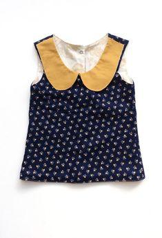 Girls Handmade Navy & Mustard Peter Pan Collar Blouse   Etsy