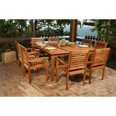 Milano Square Eucalyptus Dining Set - Seats 8 by International Home Miami Corp. $1862.99. Bring the style and elegance of eucalyptus wood to your patio with the Milano Square Eucalyptus Dining Set - Seats 8. This large, square table features FSC-certified eucalyptus construction in a classic patio design. With a table that's big and bright enough to attract and seat the whole neighborhood, you'll be hosting the best block parties around. The eight chairs further the cla...