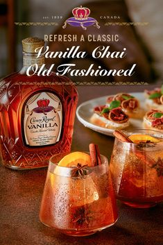 They say classics never go out of style, but who says you can't add a little flavor to switch things up? Cooler weather is the perfect time to try giving your go-to old fashioned a vanilla chai twist. In a cocktail shaker, combine 2 oz Crown Royal Vanilla, 1 oz lemon juice, 1 dash orange bitters, and 1-2 oz chai tea syrup. Shake to combine. Strain into a glass. If desired, top with sparkling water. Garnish with cinnamon and star anise.  Whisky, Fun Drinks, Yummy Drinks, Yummy Food, Beach Drinks, Alcoholic Beverages, Cocktail Recipes, Cocktails, Cocktail Drinks