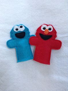 Elmo and Cookie monster finger puppets on Etsy, $8.00