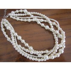 Chunky Multi Strand Pearl Necklace, Wedding Bridesmaid Necklace, White... (44 CAD) ❤ liked on Polyvore featuring jewelry and necklaces
