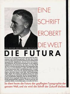 GERMANY: Paul Renner (1878-1956) was the creator of the Futura (1927) font which became one of the most successful  most-used types of the 20 century.