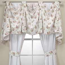 Cottage Pink Shabby Chic bedroom window treatment...I need to make the valance for my windows...matching ties. Nice!