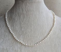 White pearl necklaceSmall pearl necklaces16 by goodgoodjewelry, $14.00