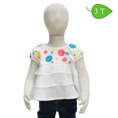 Ruffle Dots -- Cool and comfortable describe this top. The bodice is made from a cotton knit, has elasticized short sleeves, a crew neckline, and a 3-tiered bottom made from a light-weight, woven cotton blend. ($15)