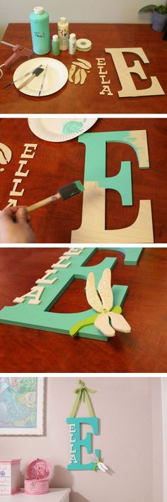 Ashley's baby-DIY – How To Make a custom Name Monogram Kids Crafts, Cute Crafts, Crafts To Do, Craft Projects, Projects To Try, Baby Crafts, Diy Crafts Cheap, Diy Crafts Home, Dorm Room Crafts