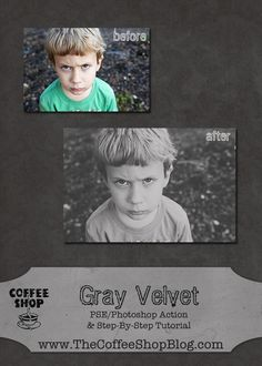 The CoffeeShop Blog: CoffeeShop Gray Velvet Action Tutorial and Action for PSE and Photoshop!