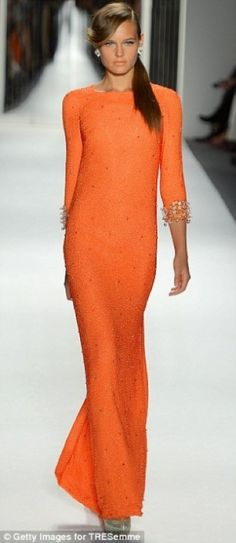 Minka Kelly wearing orange evening dress by Jenny Packham ... timeless