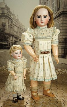 """""""Fascination"""" - Sunday, January 8, 2017: 200 Petite French Bisque Bebe Jumeau, Size 5, in Original Flowered Chemise and Signed Shoes"""