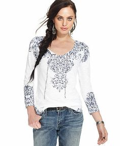 Lucky Brand Jeans Three-Quarter-Sleeve Floral-Print Top
