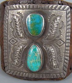 Early-VINTAGE-NAVAJO-Child-039-s-Turquoise-Silver-KETOH-Bow-Guard-Bracelet-w-Button