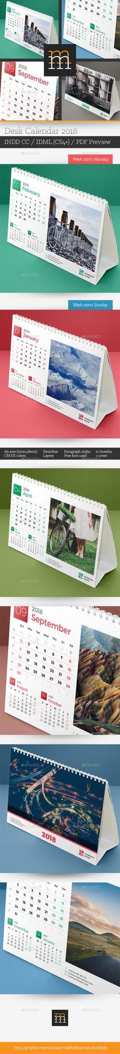 Desk #Calendar 2018 - Calendars #Stationery Download here: https://graphicriver.net/item/desk-calendar-2018/20241647?ref=alena994