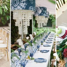 19 Gorgeous Blue and White Tablescapes Blue And Silver, Blue And White, Diner Table, White Napkins, Floral Centerpieces, Centrepieces, French Chairs, Table Toppers, Wooden Tables