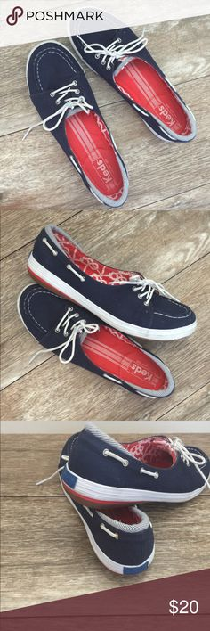 Cute Keds Slip-ons Size 9 Keds Slip-On Shoes, Size 9. Navy, Red & White Nautical theme w/lots of cute detail. Canvas upper & rubber outsole. Padded Comfort footbed. Gently worn by Posher but in EUC! Only sign of wear is noted in last photo & is only on the soles😊. Keds Shoes