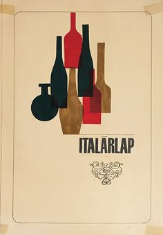 Lajos vajda   restaurant drink card cover collage artwork maquette 1960 hungarian