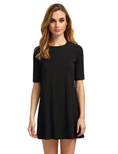 ROMWE Women's Short Sleeve Casual Loose Fit T-Shirt Tunic Dress Swing Dress $17.99