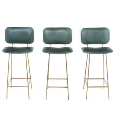 The Brass Petra Stool by Thomas Hayes Studio | Shown in Brass with Light Patina and Green Leather Upholstery