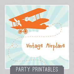 Vintage+Plane++ORANGE+Party+Package++INSTANT+by+MadisonDesignShop,+$28.00