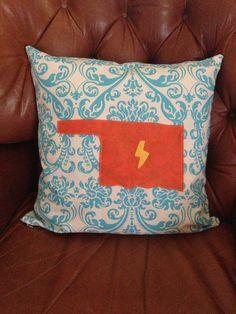 OKC thunder pillow cover. Oklahoma. Pillow cover. Lightning. OKC. HOMA. Oklahoma City. Thunder up. Basketball.  on Etsy, $25.00