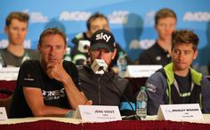 Jens Voigt of Germany riding for Trek Factory Racing addresses the media as Sir Bradley Wiggins of Great Britain riding for Team Sky and Peter Sagan of Slovakia riding for Cannondale Pro Cycling listen during the pre-race press conference prior to the 2014 Amgen Tour of California on May 9, 2014 in Sacramento, California.