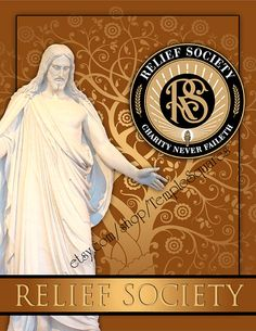 Printable Binder Cover and Spines. LDS Christ Art with Relief Society Emblem. Instant Digital Download File. Etsy.com/shop/TempleSquares