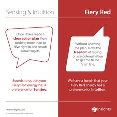 How sensing and intuition show up in Fiery Red Colour Energy Effective Leadership Skills, Insights Discovery, Leadership Training Programs, Color Psychology, Personality Types, Knowledge, Intuition, How To Plan, Learning