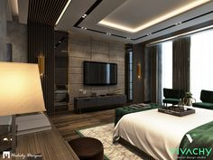 Modern Contemporary Bedroom in New Cairo on Behance Modern Luxury Bedroom, Luxury Bedroom Design, Bedroom Furniture Design, Home Room Design, Dream Home Design, Master Bedroom Design, Contemporary Bedroom, Luxurious Bedrooms, Modern Contemporary