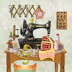 'Antique Sewing Room - Lime' by Rosiland Solomon
