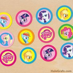 Click here to download FREE Printable My Little Pony Cupcake Toppers!