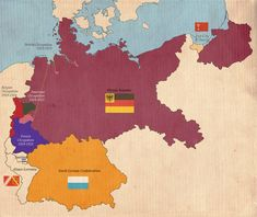 Alternate Germany was divided in two at the end of the war. Süddeutscher Bund (Bayern): South German Confederation (Bavaria)- Maintained the . German Confederation, Imaginary Maps, Asia Map, Political Beliefs, Fantasy Map, Alternate History, Historical Maps, Old Maps, Versailles