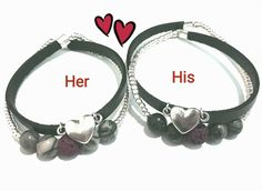 Excited to share the latest addition to my #etsy shop: Couples Bracelet, Leather bracelet, Matching Bracelet, His and Hers Bracelet, Friendship Bracelet, Relationship Bracelet, Bracelet Set, Vday http://etsy.me/2mRaumK #jewelry #bracelet #black #boys #jade #yes #silver