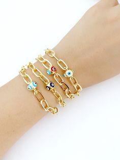 Greek Evil Eye, Plastic Jewelry, Evil Eye Charm, Evil Eye Bracelet, Adjustable Bracelet, Cute Jewelry, Link Bracelets, Pandora Charms, Chain