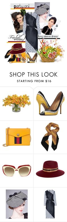 """Party on: Going to a Friend's Bday"" by vittorio-1 ❤ liked on Polyvore featuring Salvatore Ferragamo, Gucci, Julie Fagerholt, Dolce&Gabbana, Maison Michel and Mason by Michelle Mason"