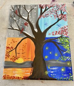 Four Seasons Painting, Four Seasons Art, Canvas Painting Tutorials, Diy Canvas Art, Tree Drawing For Kids, Summer Camp Art, Anime Crafts, Art Lessons For Kids, Tree Art