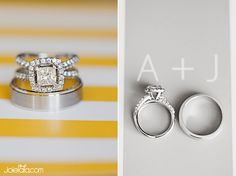 Wedding Rings with yellow stripes ♥
