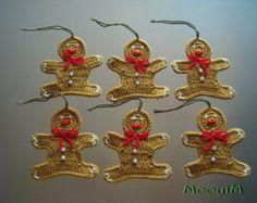 Gingerbread Man Crochet Christmas Ornament set of 6