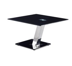 T655E End Table This Contemporary Table Features A Tempered Black Glass Top  And Base With Chrome