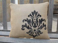 Burlap stenciled pillow