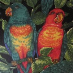 Parrots Berries and Leaves Tropical Handmade by beachsidestyle
