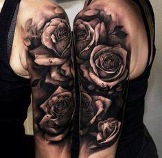 Rosen schwarz weiß Wassertropfen Arm