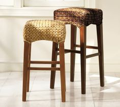 Pottery Barn Tall Seagrass Backless Barstool in Havana Dark $149