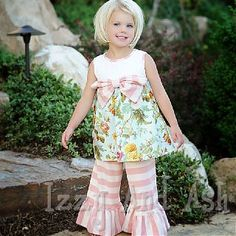 Persnickety Rose Dress w/ Pink Stripe Bell Pants- LOVE outfit. Cutest little thing ever! Little Girl Fashion, Kids Fashion, Fashion Outfits, Korean Fashion, Persnickety Clothing, Little Girl Haircuts, Kids Outfits, Cute Outfits, For Elise