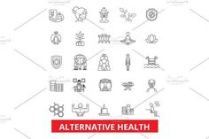 Alternative health, healing, medicine, acupuncture, therapy, herbal homeopathy line icons. Editable strokes. Flat design vector illustration symbol concept. Linear signs isolated on white background by urban icon on @creativemarket