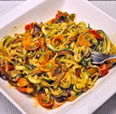 Zucchini Noodles with Cherry Tomatoes, the Spiralizer Recipe by Katie Zucchini Noodle Recipes, Zoodle Recipes, Spiralizer Recipes, Zucchini Noodles, Vegetable Recipes, Vegetarian Recipes, Fried Zucchini, Zucchini Muffins, Veggie Noodles